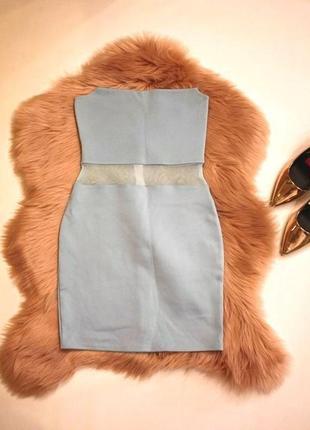 Голубое платье-бюстье missguided вечернее, коктейльное на новый год (к006)