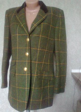 Шикарный трендовый пиджак*блейзер*в клетку 100% шерсть люкс бренд basler