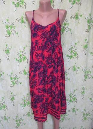 Яркий сарафан в тропический принт/свободный/44-46 размер/можно беременным