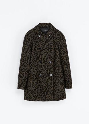 Пальто zara с леопардовым принтом