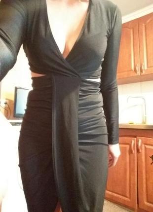 Чёрное смелое платье pink botique с-м
