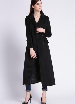 Дизайнерское длинное макси шерстяное пальто john rocha