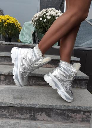 Рр 36-40 зима натуральная кожа люксовые сникерсы светлое серебро на стильной платформе