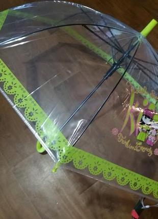Прозрачный зонт зонтик полуавтомат для девочки 4- 7 лет польша