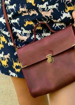 Кожаная сумка, кроссбоди, сумка-почтальйон