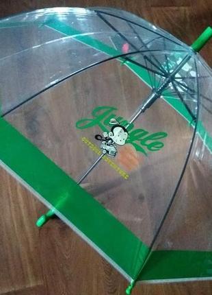 Прозрачный зонт зонтик полуавтомат для мальчика и девочки  4- 7 лет польша