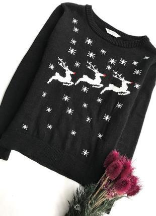 Черный свитер с оленями/ зимний джемпер / новогодний праздничный / кофта