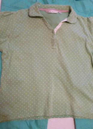 Качественная мягкая приятная мятная футболка в мелкий горох хороший размер
