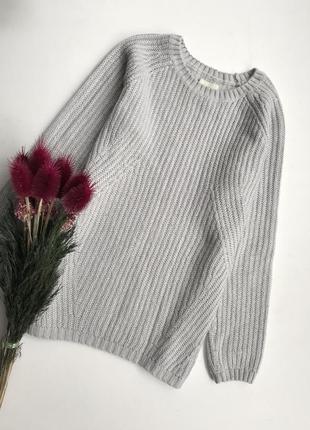 Серый свитер/ кофта вязанная светло-серая зимняя / реглан джемпер свитшот