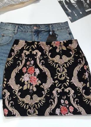 Жаккардовая юбка с молнией missguided,р-р 10