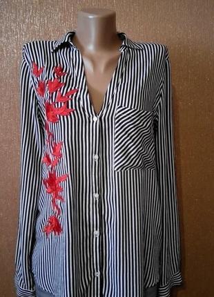 Блузка,рубашка в полоску с вышивкой аппликацией размер 10-12 zara