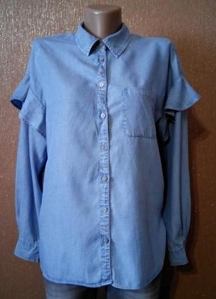 Котоновая рубашка с воланом на рукаве размер 8-10 f&f