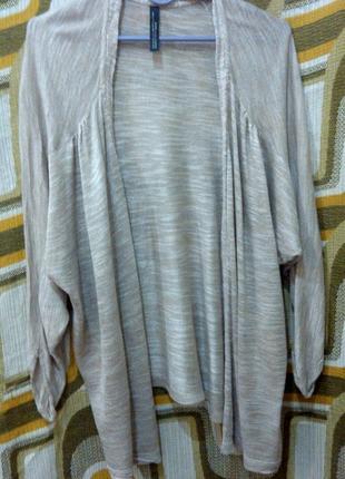 Бежевая накидка кардиган джемпер свитер zara (вискоза)