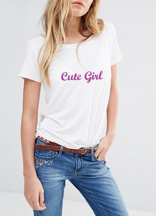 "Футболка белая ""cute girl"" 100% коттон испания размеры"