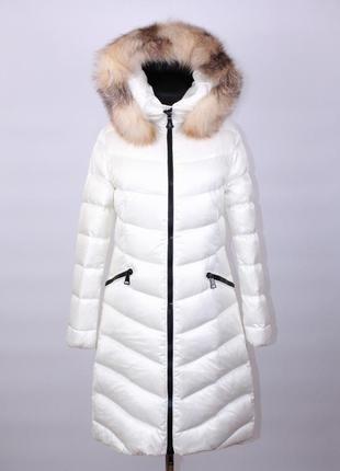 Женское пуховое белое пальто - пуховик moncler
