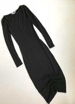 Облегающее длинное платье с рукавами трикотажное чёрное миди / new look  по фигуре длиное