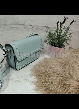 Стильная повседневная сумка через плечо с жемчугом l. pigeon 89008 green (бирюза/голубой)