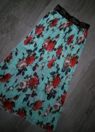Яркая 😱😍бирюзовая плиссированная  юбка в цветы миди  angelie