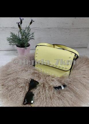 Стильная повседневная сумка через плечо с жемчугом l. pigeon 89008 yellow (желтый)