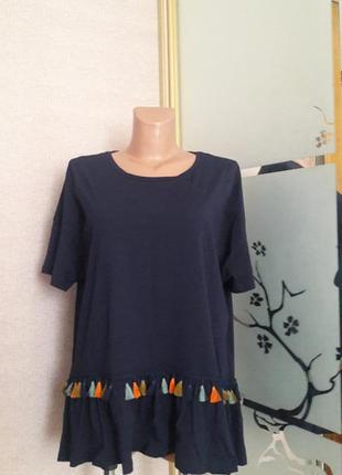 Модненькая футболка блуза в стиле бохо) пог 58