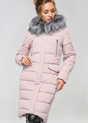 Пудровое теплое зимнее пальто пуховик кэт нью вери nui very размер xs-s с капюшоном мехом
