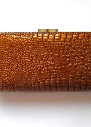 Большой кожаный лаковый кошелек gold, 100% натуральная кожа, есть доставка бесплатно4 фото