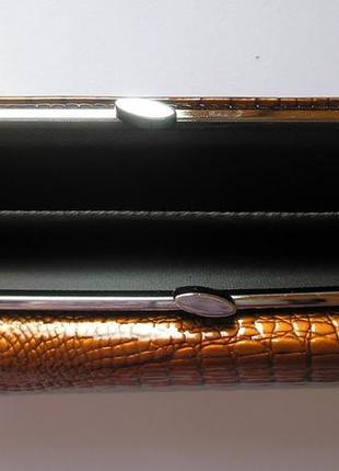 Большой кожаный лаковый кошелек gold, 100% натуральная кожа, есть доставка бесплатно5 фото