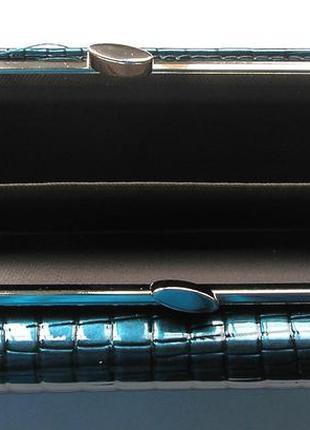 Большой кожан. лаковый кошелек, 100% натур. кожа, royal blue, есть доставка бесплатно5 фото