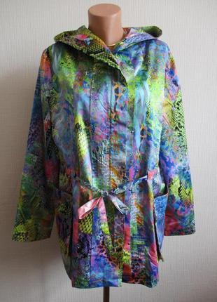 Яркая удлиненная куртка-ветровка с капюшоном alisa