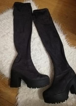 Ботфорты женские сапоги чулки на толстом каблуке ботфорты серые