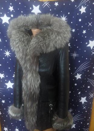 Куртка натуральна кожа кожаная с капюшоном мех чернобурка