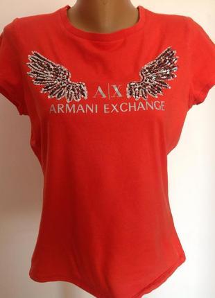 Котоновая симпатичная фирменная футболка. /l/ brend armani exchange