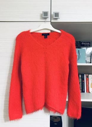 Пухнастый свитер primark красный размер xs