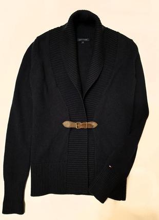 Tommy hilfiger кардиган кофта свитер шерсть хлопок xs кожа