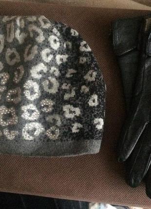 Комплект зимний шапка+перчатки