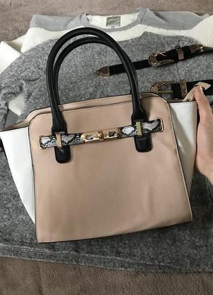 Бежевая сумка сумочка f&f с длинными ручками