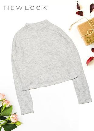 Теплый свитер укороченый с горловиной new look