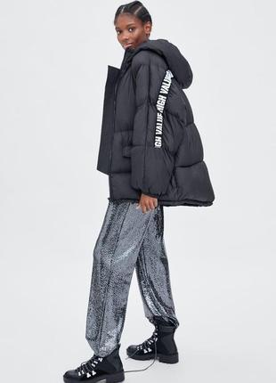 Куртка объемного кроя в стиле oversize с полосами zara, размер xs, s, m, l