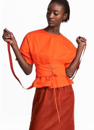 Хлопковая блуза реглан h&m 40.l,оранжевая стильная блуза с корсетом на талии