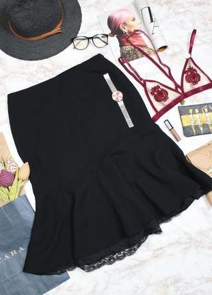 Обнова! нарядная юбка миди черная годе с кружевом качество zara2