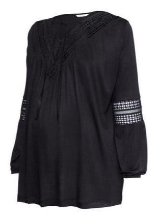 Обнова! блуза джемпер черная с кружевом для беременных h&m новая2
