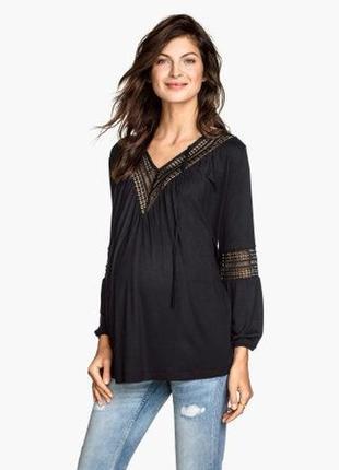 Обнова! блуза джемпер черная с кружевом для беременных h&m новая1