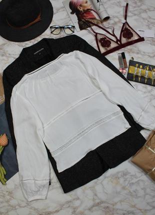 Обнова! блуза белая плиссе объемный рукав вставки кружево mango4