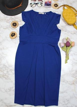 Обнова! платье миди футляр кобальт синее1 фото