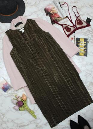 Обнова! платье миди плиссе прямого кроя медно зеленое h&m1 фото