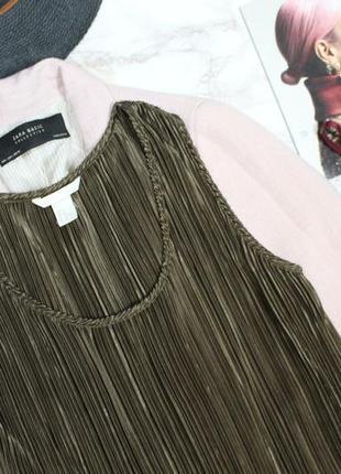 Обнова! платье миди плиссе прямого кроя медно зеленое h&m2 фото