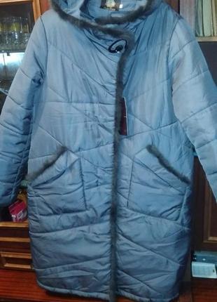 Куртка,пальто  с натуральной норочкой ! на ог 116-120..последнее...