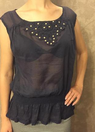 Синяя полупрозрачная блуза  с баской 40 р. l olko