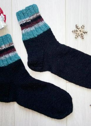 Теплые черные вязаные носки из шерсти