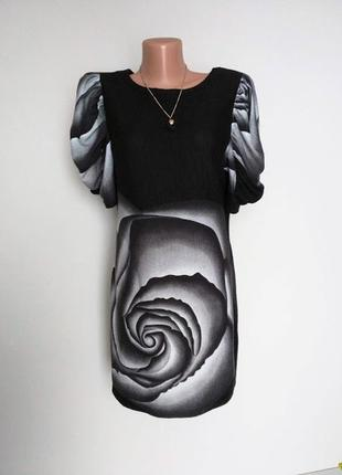 Платье, туника в цветочный принт, роза. pilot 14(42) хорошо подходит на размер меньше